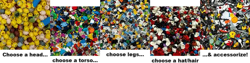 All the parts for building your own LEGO MiniFig